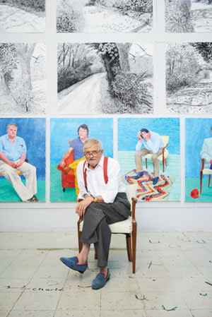 David Hockney in his LA studio with some of the works for his upcoming show. They include charcoal drawings of Yorkshire and portraits of friends, including assistant Jean-Pierre Goncalves De Lima (with head in hands)