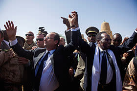 French president François Hollande arrives with Mali's Dioncounda Traoré in February