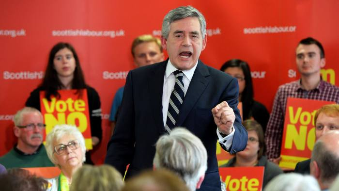 Gordon Brown Speech At Scottish Labour Headquarters...GLASGOW, SCOTLAND - SEPTEMBER  9: Former Prime Minister Gordon Brown delivers a speech to a packed room at Scottish Labour campaign headquarters on September 9, 2014 in Glasgow, Scotland. With just eight days of campaigning left before voters will go to the polls to vote Yes or No on whether Scotland should become an independent country, Alex Salmond has suggested that the No campaign is falling apart.  (Photo by Mark Runnacles/Getty Images)