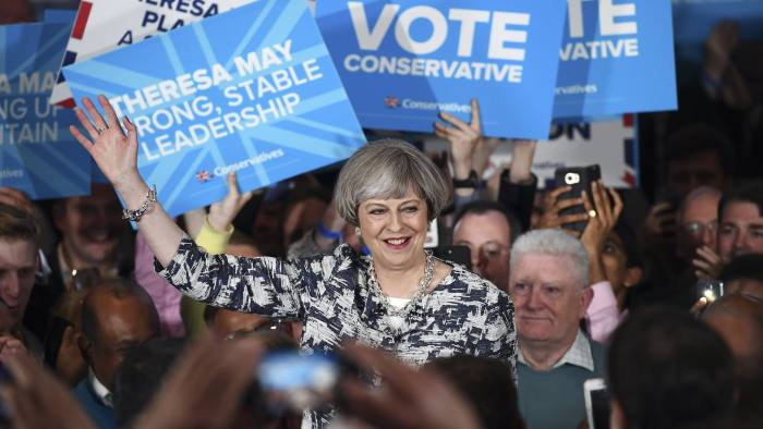 SOLIHULL, UNITED KINGDOM - JUNE 07: Prime Minister Theresa May speaks during her last campaign visit at the National Conference Centre on June 7, 2017 in Solihull, United Kingdom. Britain goes to the polls tomorrow to vote in a general election. (Photo by Carl Court/Getty Images)