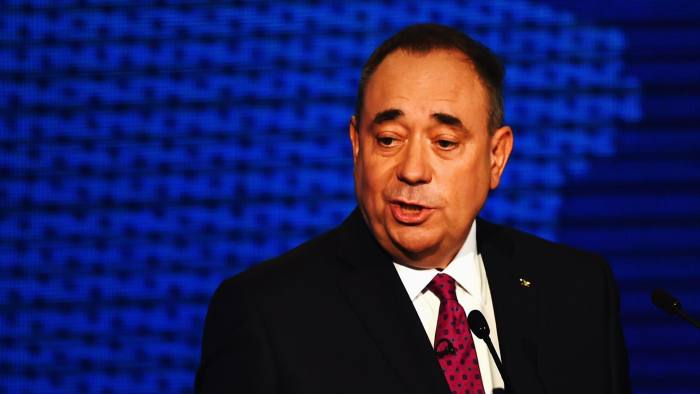 Alex Salmond, First Minister of Scotland taking part in a live television debate from the Royal Conservatoire of Scotland