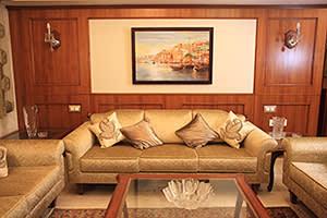 Sitting room in the office apartment of Natarajan Chandrasekaran's home in Mumbai