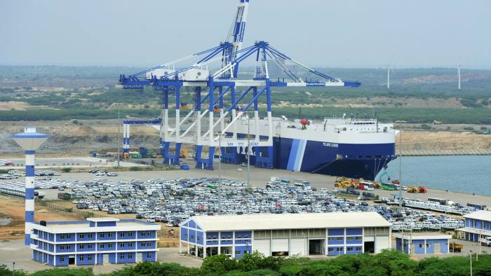 (FILES) This file photo taken on February 10, 2015 shows a general view of Sri Lanka's deep sea harbour port facilities at Hambantota. Sri Lanka's government on July 25, 2017 approved the sale of a 70 percent stake in a loss-making but strategically-placed deep sea harbour to China at $1.12 billion, the ports minister said. / AFP PHOTO / LAKRUWAN WANNIARACHCHILAKRUWAN WANNIARACHCHI/AFP/Getty Images