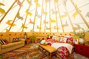 The interior of a tepee