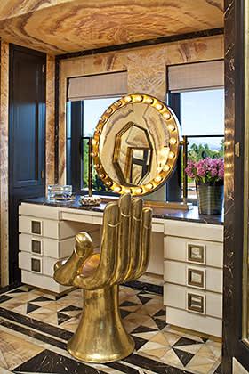 Metallic features in vanity room of home in Bel Air, California, designed by Kelly Wearstler