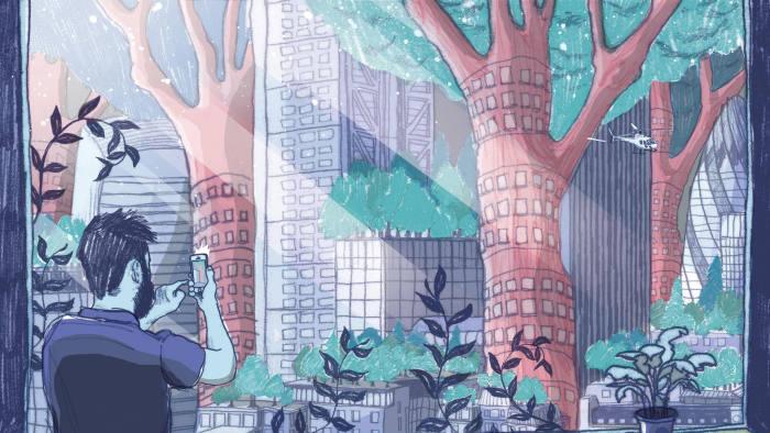 illustration of a plan for a green urban landscape