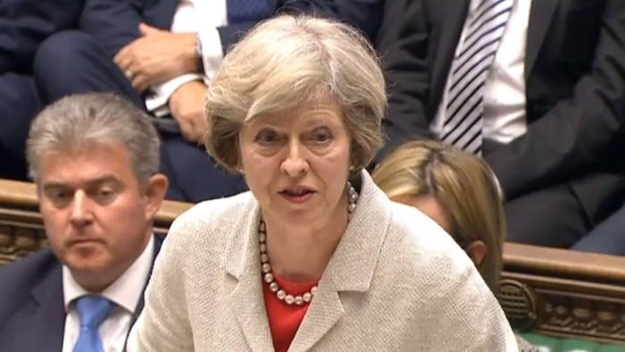 Prime Minister Theresa May speaks in the House of Commons in London during a debate on whether to renew the Trident nuclear deterrent. PRESS ASSOCIATION Photo. Picture date: Monday July 18, 2016. See PA story POLITICS Trident. Photo credit should read: PA Wire