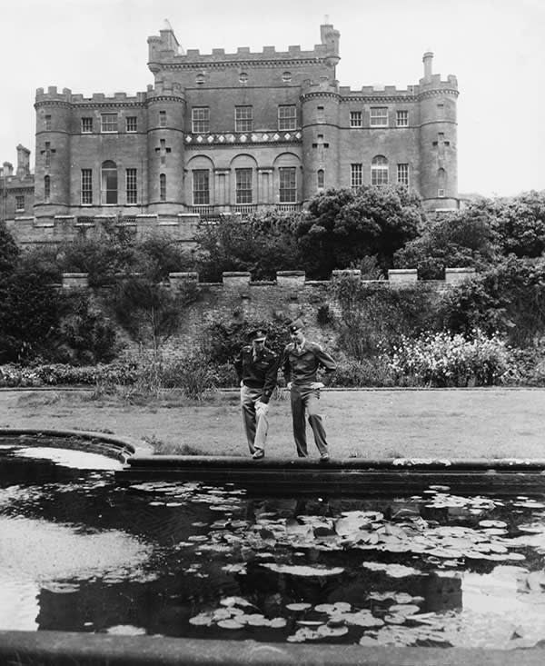 General Dwight Eisenhower (left) with his son in the grounds of Culzean Castle, 1946