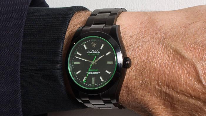 "Bamford Watch Department Rolex Milgauss SE ""Stealth"" GV Green; My favourite pieces: Viscount Linley"