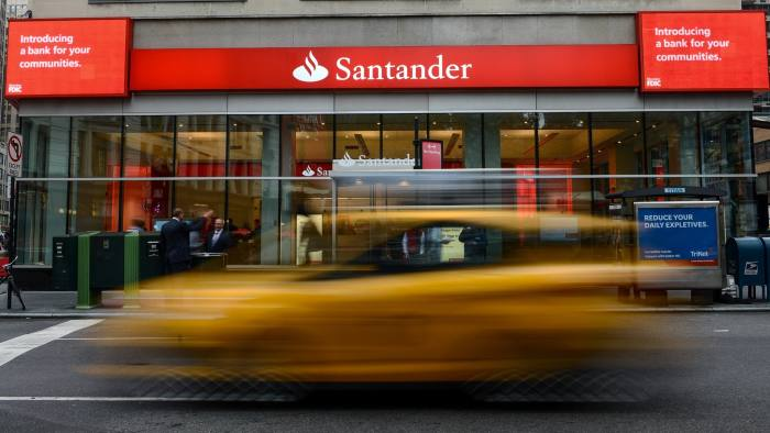 A former Sovereign Bank branch is rebranded as Santander's first retail bank branch in the United States in New York, U.S., on Thursday, Oct. 17, 2013. Photographer: Ron Antonelli/Bloomberg *** Local Caption ***