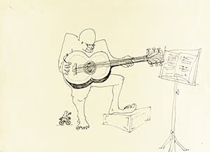 Lot 89 LENNON, untitled ink drawing of a four-eyed guitar player