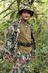 Thamarong Somsak, one of the small force of anti-logging rangers in Thap Lan National Park, Thailand