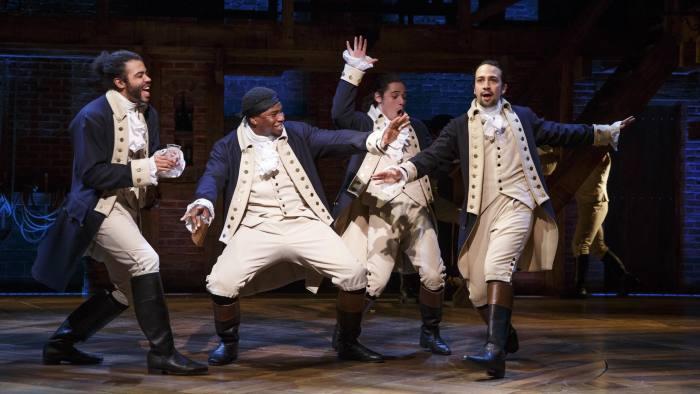 From left, Daveed Diggs, Okieriete Onaodowan, Anthony Ramos and Lin-Manuel Miranda in 'Hamilton'