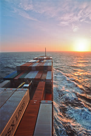 A container vessel sailing on the Pacific