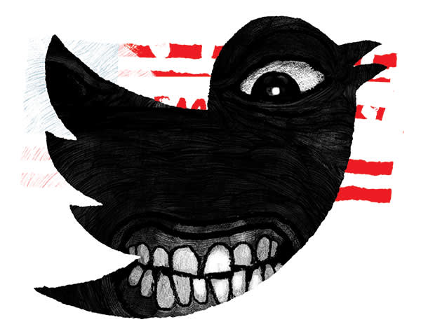 Illustration by David Foldvari of a black angry bird in the shape of twitter icon