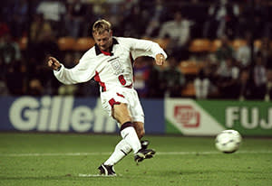 David Batty of England fails to convert his crucial penalty in the shootout during the World Cup second round match against Argentina at the Stade Geoffroy Guichard in St Etienne, France in June 1998