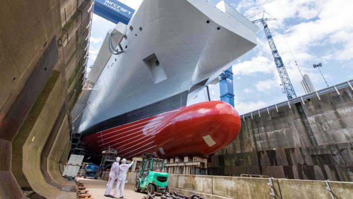 Companies including BAE work on HMS Queen Elizabeth warship at Rosyth dockyard, Fife