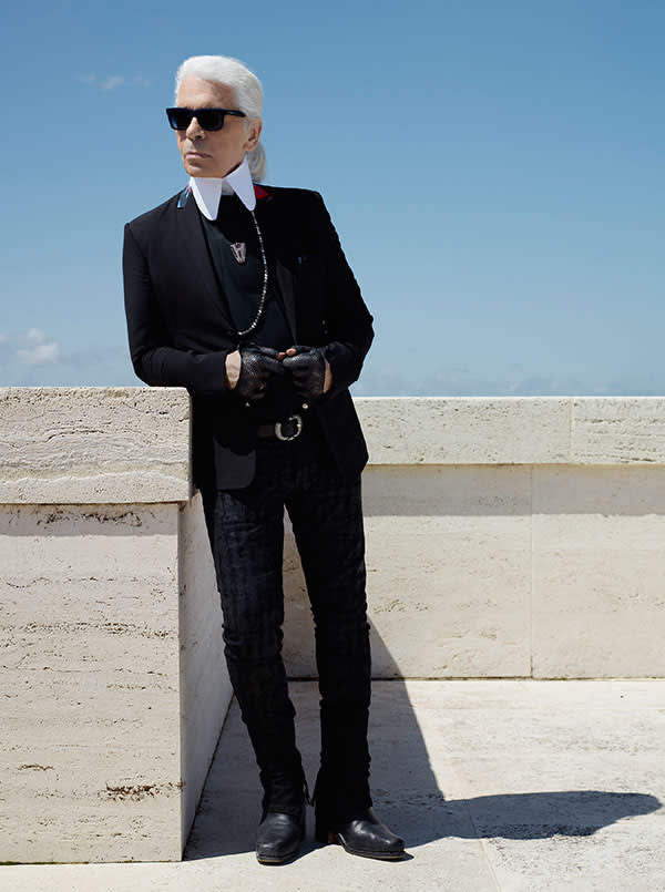 Karl Lagerfeld at the new Fendi headquarters in Rome, 2014