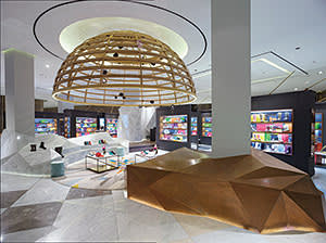 Spacious display area at Level Shoe District in Dubai Mall