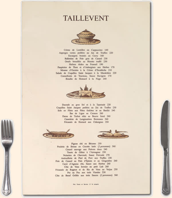 Taillevent menu