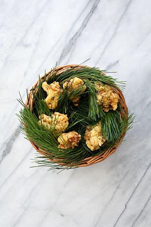 Buttermilk-fried chicken with pine salt
