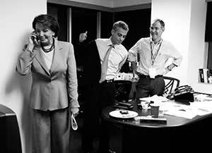 Rahm Emanuel with Democratic leader Nancy Pelosi and his brother Ezekiel