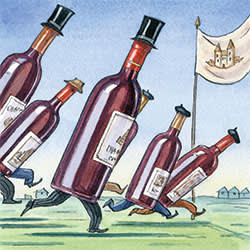 An illustration by Ingram Pinn depicting a race to the finish of wine vintages