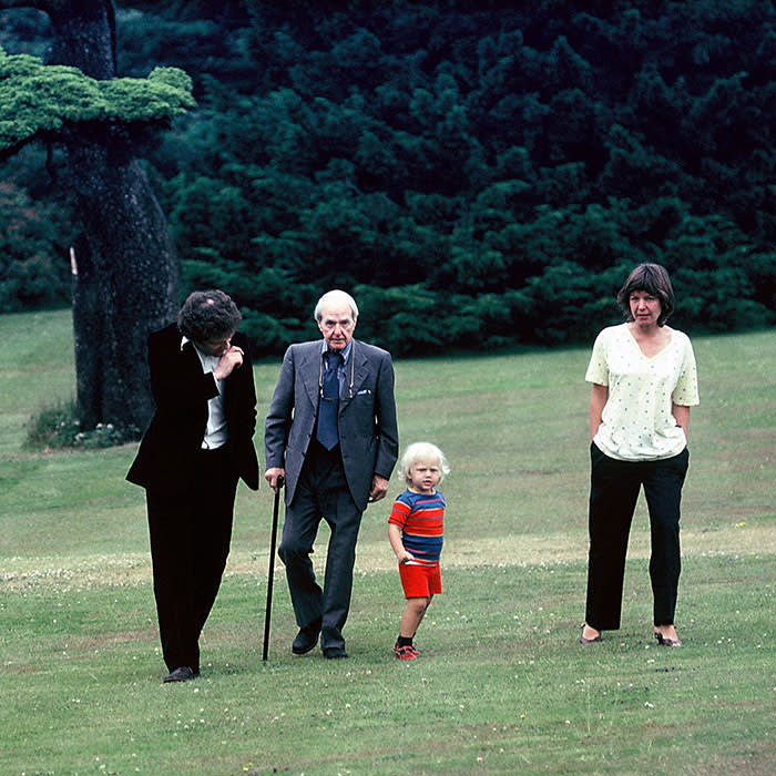 Henry Moore at YSP, 1979. He is pictured with Peter Murray, Mary Moore (Henry Moore's daughter) and Mary's son Gus. (C) Yorkshire Sculpture Park