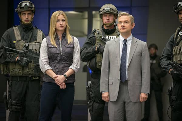 With Emily Van Camp in 'Captain America: Civil War'