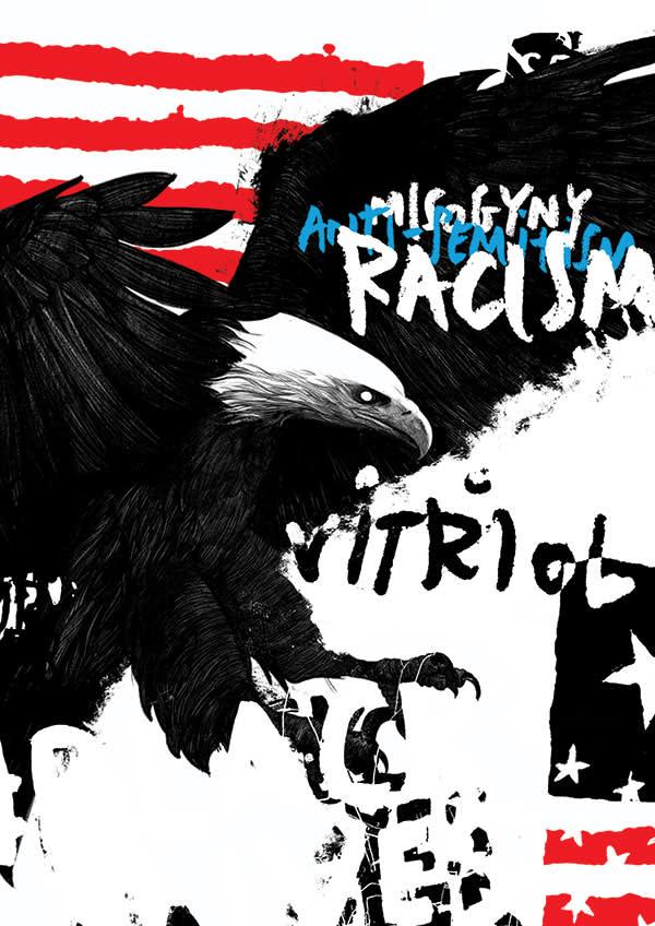 Illustration by David Foldvari of a black eagle with the words vitriol, racism, anti-semitism and misogyny