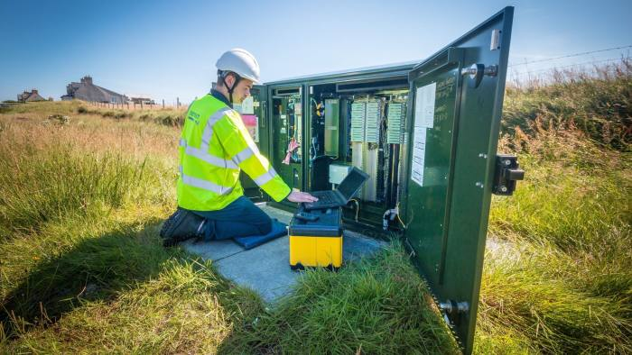 Undated handout photo issued by BT of Openreach engineer Stuart MacDonald in North Tolsta, as the remote community in the Western Isles is the first in Scotland to test increased broadband speeds over long phone lines. PRESS ASSOCIATION Photo. Issue date: Thursday August 18, 2016. Initial results from around 20 homes in North Tolsta on the Isle of Lewis have seen