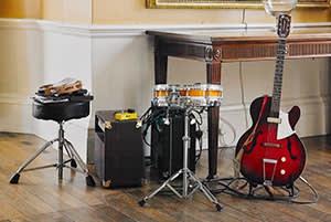 Grafton's guitar and drum kit
