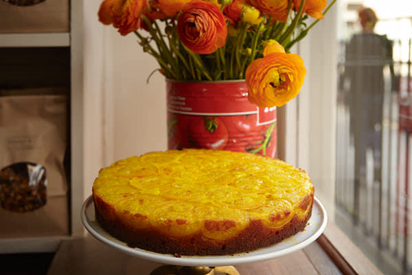 Saffron and lemon syrup cake