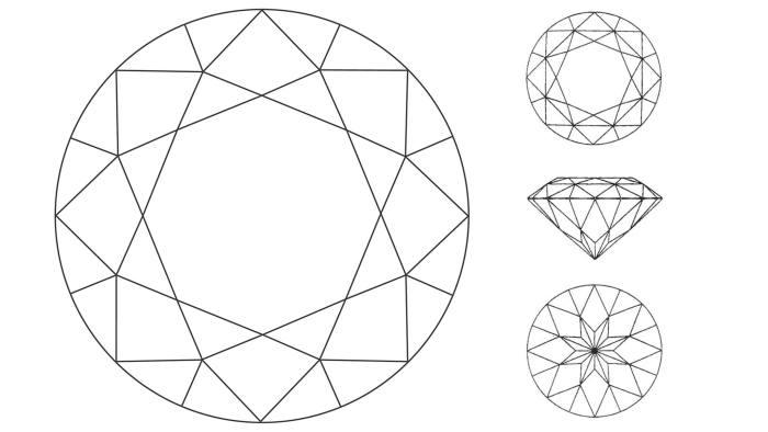 Cut! The round brilliant (main) has been challenged by Garrard's Eternal cut (three views, right)