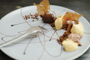 At Dessance: chocolate croustillants with 'clouds' of burnt caramel