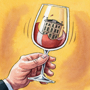 illustration of a house inside a wine glass, by Ingram Pinn