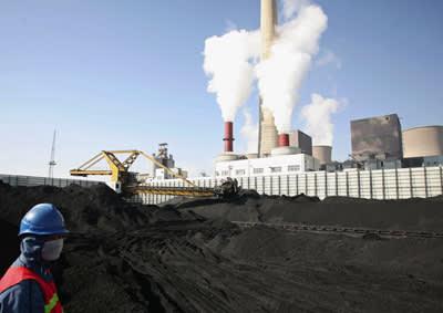 A worker at a coal dump site in Ningxia Hui autonomous region