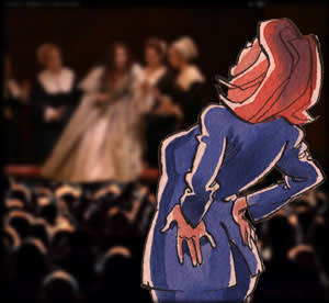 Illustration by James Ferguson of Mrs Moneypenny at the opera