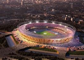 Olympic stadium at night