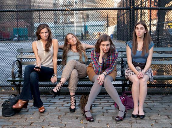 The cast of 'Girls', from left,  Allison Williams, Jemima Kirke, Lena Dunham, Zosia Mamet