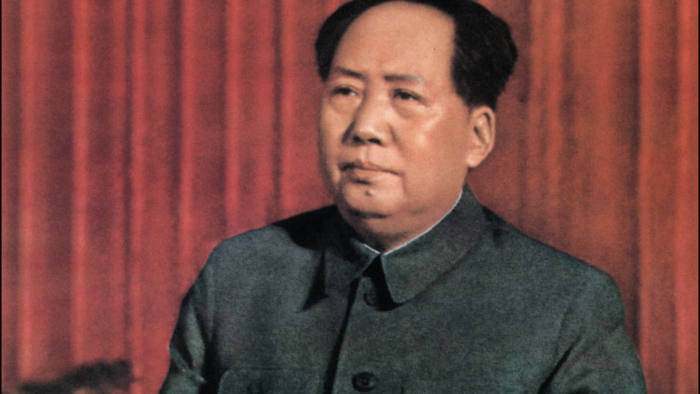 "A retouched picture released by Chinese official news agency of Mao Zedong, Chairman of the Chinese Communist Party from 1935 until his death in 1976, delivering a speech ""about correctly handling contradiction among the people"" at the standing committee of the State Council in Beijing in 1957. CHINA OUT"