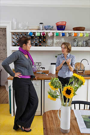 Helen Sanderson, (left), with Lucy Kellaway in the latter's kitchen