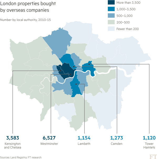 Map: Graphic of London properties bought by overseas companies
