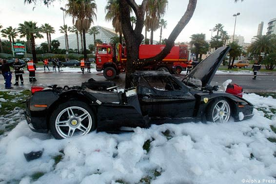 The Ferrari Enzo that Suleiman Kerimov crashed in Nice in 2006