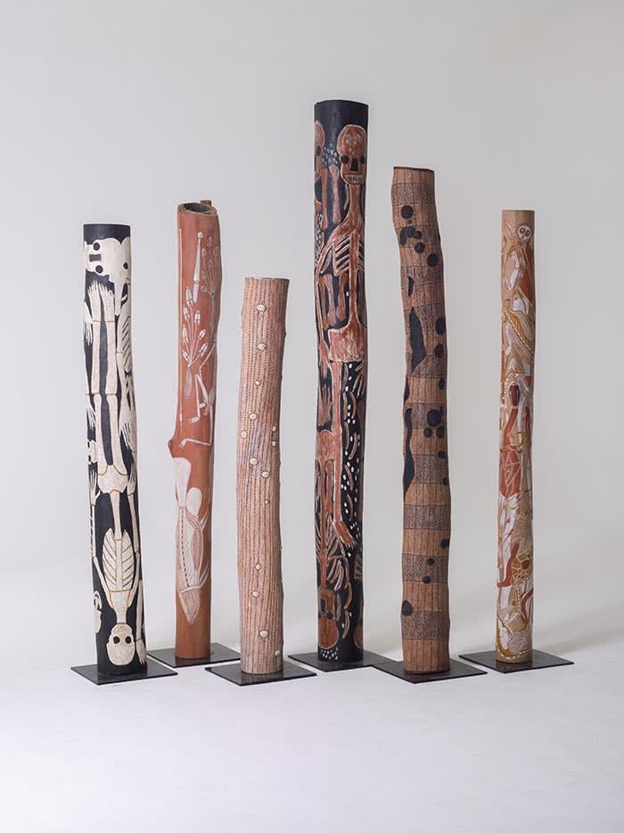 Aboriginal Larrakitj (hollow log) installation from Injalak Arts (2015-17)