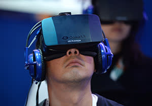 User with VR headset