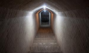 Entrance to an a underground aqueduct in Yazd, Iran.
