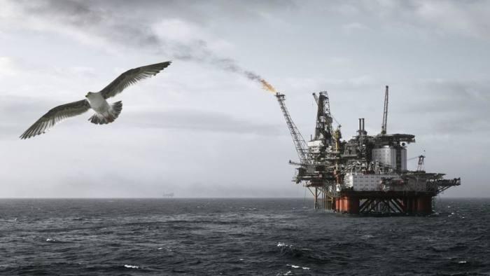 Norway, North sea oil platform flaring off