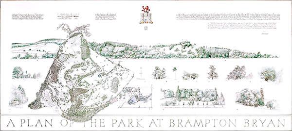 Simon Vernon's pencil and watercolour plan of the park at Brampton Bryan
