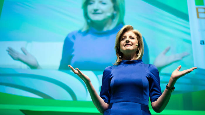 epa04790388 Co-founder of the Huffington Post, Arianna Huffington, speaks at the NOAH founders conference in the Tempodrom in Berlin, Germany, 09 June 2015. The NOAH Conference, taking place on 09-10 June, provides a platform for leaders of the digital economy to meet and interact. The target audience spans from entrepreneurs, investors, corporate executives, networkers to leading industry journalists. EPA/GREGOR FISCHER